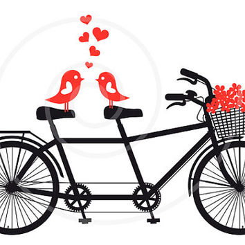 Tandem bicycle with love birds, wedding invitation, engagement, Valentine's day, vector, digital clipart, clip art, printable card, download