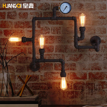 The Wife Of The American Village Lighting Industrial Wind Cafe Bar Lamp Decoration Retro Iron Pipe Wall