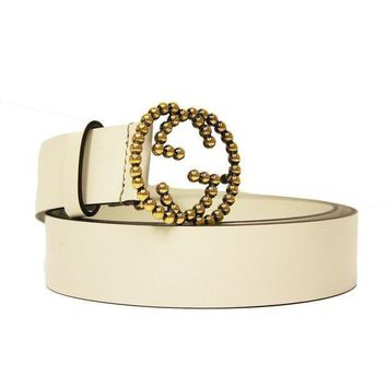 DCCKHI2 Gucci Gold Studded Interlocking GG Logo Buckle Ivory Off White Leather Belt 282323