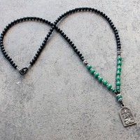 Soothing and Intuition, Genuine Onyx Malachite Gemstone Necklace with Shiva Pendant