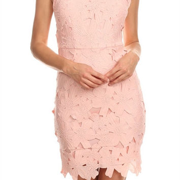 DRESS WITH HIGH ROUND SCALLOPED NECK