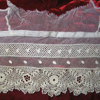 Vintage Lace Collar or Garment Trim in Ecru with Irish Crochet & Dot on Net - Circa 1920s