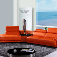 Divani Casa Raizel Modern Orange Leather Sectional Sofa w/ Left Facing Chaise