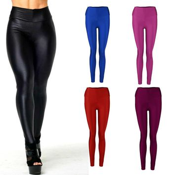 Shiny Elastic High Waist Dance Leggings