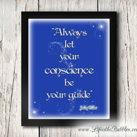 Let Your Conscience Be your Guide, Once Upon a Time, Pinocchio, Jiminy Cricket, Art Typography, 8 X 10 Print Wall Art Poster, INSTANT DOWNLOAD
