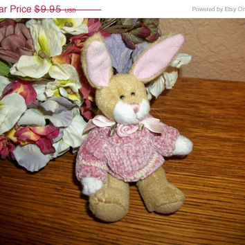 "Brown Bunny Rabbit 5"" Stuffed Animal Pink Sweater Vintage  Easter Decoration Craft Supply Collectible by Bearington"