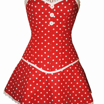 Minnie Mouse Overbust Steel Boned Corset and Skirt Costume - Adult