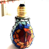 Mosaic Art Lightbulb Heart decor with Stained Glass