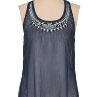 Blue Embroidered Bead Flyaway Tank - Blue