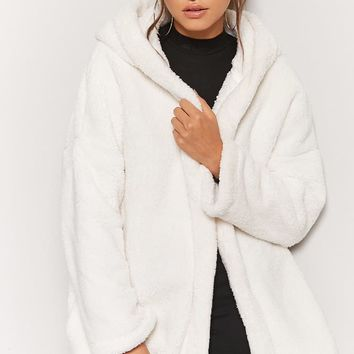 Hooded Faux Fur Open-Front Coat