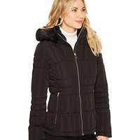 Calvin Klein Puffer Short with Detachable Fur Trimmed Hood