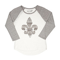 Miss Me Girls 7-16 Rhinestone Fleur-De-Lis Baseball Tee - Off White