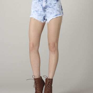 High Waisted Acid wash cut off shorts