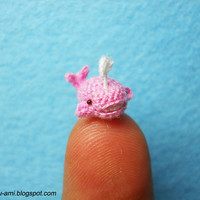 Cute Pink Whale Dolphin  Tiny Crocheted Dollhouse by SuAmi on Etsy