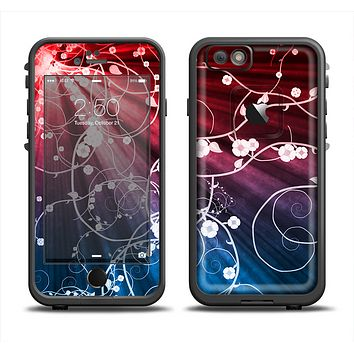 The Blue and Red Light Arrays with Glowing Vines Skin Set for the Apple iPhone 6 LifeProof Fre Case