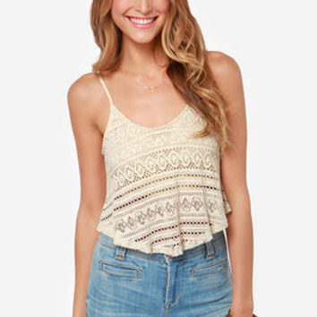 Fest Friends Cream Crochet Crop Top