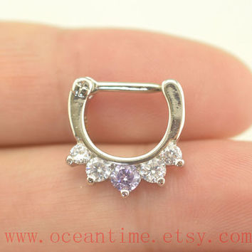 septum ring, stunning diamond nose ring ,316L Surgical Steel Nose Rings,septum piercing,girlfriend gift,oceantime