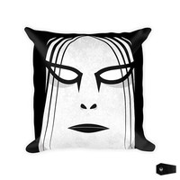 gothic home decor, black metal, throw pillow, home decor, corpsepaint, haunted housewares, decorative pillow, metalhead, throw pillow covers