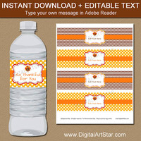 Thanksgiving Party Decor - Thanksgiving Water Label Download - Digital Thanksgiving Labels - Autumn Water Bottle Labels - Fall Decorations