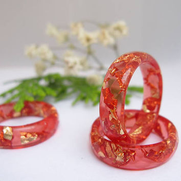 Resin Ring - Red Faceted Eco Resin Ring with Gold Flakes, Valentines Day Gift