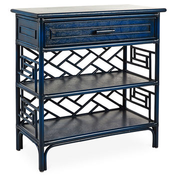 Chinese Chippendale Chest, Indigo, Console Table
