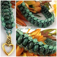Beautiful Green Aventurine Handmade Flat Spiral Beaded Bangle Bracelet