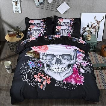 Wongsbedding Black Floral Skull Bedding Set Queen Size Bed Quilt/Duvet Cover Set 4PCS New Design Bedclothes Bedlinen Beddings