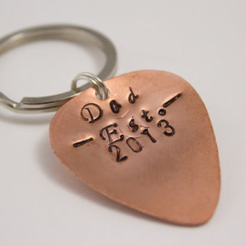 Father's Day Guitar Pick Keychain - Dad, Established, Personalized Year - Copper, Silver, Musician