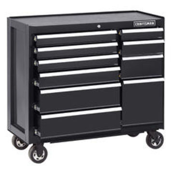 Craftsman 10 Drawer Soft Close Ball-Bearing Rolling Cart - Black - Sears