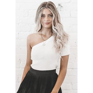 Anything But Basic White One Shoulder Top
