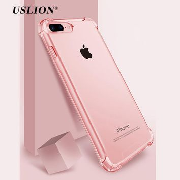 USLION Airbag Drop Protection Case For iPhone 7 Transparent Phone Cases Soft TPU Clear Back Cover Coque For iPhone 8 7 6 6S Plus