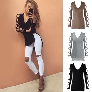 Women's V Neck Cut Out Long Sleeve T Shirt High Low Casual Blouse Tee Shirt Tops