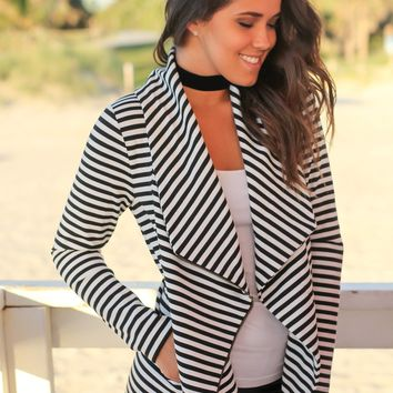 Black and White Striped Asymmetrical Jacket with Zipper