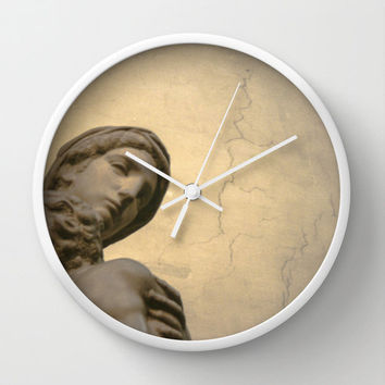 "Wall Clock with Print of Michelangelo's ""Madonna and Child"", Golden Renaissance Art Photography"