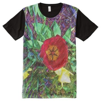 Flower Tulip drawing All-Over-Print T-Shirt