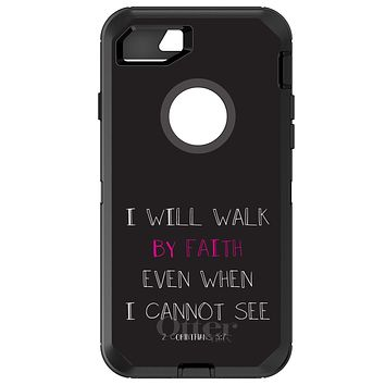 DistinctInk™ OtterBox Defender Series Case for Apple iPhone / Samsung Galaxy / Google Pixel - 2 Corinthians 5:7 - I Will Walk By Faith Even When I Cannot See