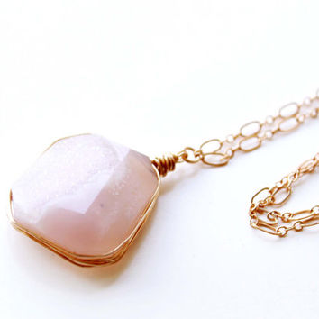 Druzy gold filled necklace, long layering necklace, Pink Quartz Druzy pendant wire wrapped, Jewelry Trends 2015, Graduation gift, Summer