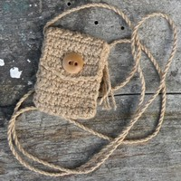 Handmade Spirit Pouch, created with Organic Cotton - Wheaten Buff