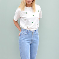 Cactus Embroidered White T-shirt