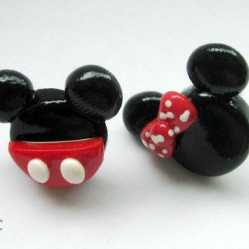 Mickey and Minnie Earrings - Handcrafted Polymer Clay Earrings - Disney Inspired - Sweet Couple Earrings