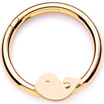 "16 Gauge 3/8"" Gold Tone Whale of a Hinged Segment Ring"