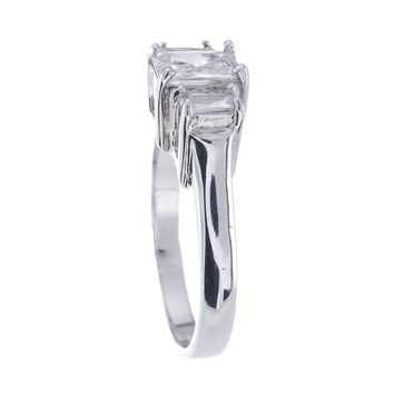 Plutus Brands 925 Sterling Silver Platinum Finish Emerald Cut Three Stone Engagement Ring 1.5 Carat Weight- Size 8