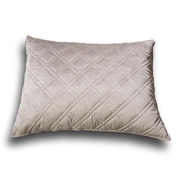 "DaDa Bedding Taupe Grey Velvet Quilted King Pillow Sham - 20"" x 36"" (JHW831)"