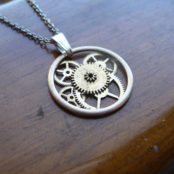 "Mechanical Pendant ""Fusion"" Recycled Clockwork Watch Gears and Intricate Sculpture Wearable Art Not Quite Steampunk Assembly Necklace"