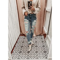SUNSET BLVD MID RISE ANKLE SKINNY LIGHT WASH