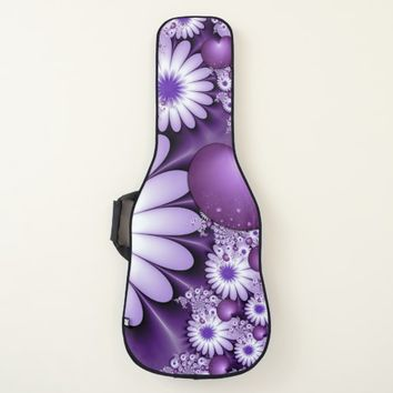 Falling in Love Abstract Flowers & Hearts Fractal Guitar Case