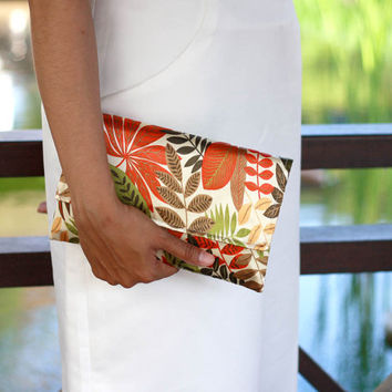 Envelope clutch autumn leaves, satin clutch, fall color clutch, autumn wedding