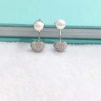 Fashion zircon heart and pearl 925 sterling silver earrings
