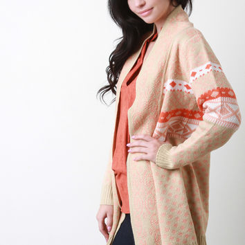 Mixed Pattern Tight Knit Long Cardigan