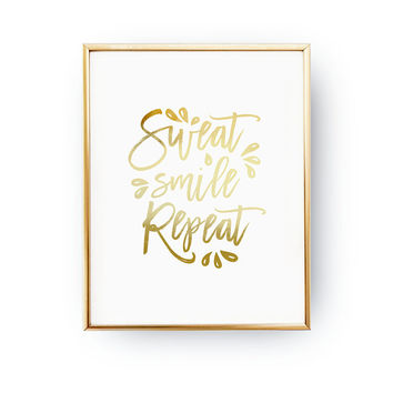 Sweat Smile Repeat, Dorm Wall Decor, Real Gold Foil, Fitness Room, Gym Decor, Workout Quote, Workout Routine, Typography Print, Home Decor